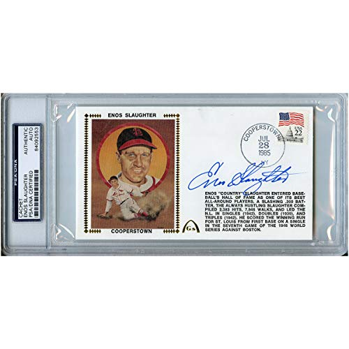 - Enos Slaughter Autographed Signed First Day Cover FDC Cachet PSA/DNA #