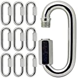 New orange heart M6/0.24'' Carabiners Clip Aluminum D-Ring Locking 210KG, Carabiners Clip Set, Screw Gate Lock Hooks for Outdoor Camping,10Pack
