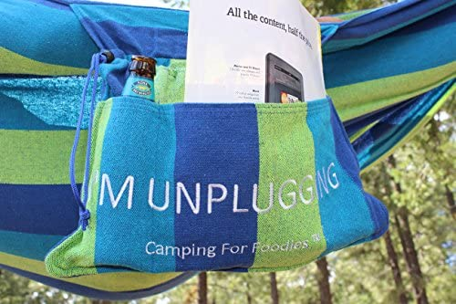Camping For Foodies Hammock with Attached Carrying and Accessory Bag for Easy Access to Drinks, Magazines, Phones etc. Displaying Fun, I m Unplugging, Message.