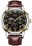 Les hommes d'affaires montres analogiques occasionnels montre-bracelet à quartz de chronographe avec bande en cuir brun chiffre romain
