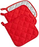 "DII 100% Cotton, Machine Washable, Heat Resistant, Everyday Kitchen Basic, Terry Potholder, 7 x 7"", Set of 3, Tango Red"