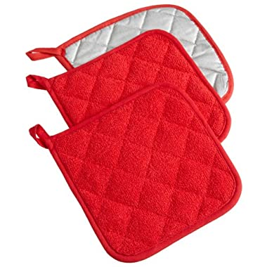 DII 100% Cotton, Machine Washable, Heat Resistant, Everyday Kitchen Basic, Terry Potholder, 7 x 7 , Set of 3, Tango Red