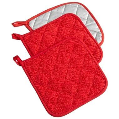 DII 100% Cotton, Machine Washable, Heat Resistant, Everyday Kitchen Basic, Terry Potholder, 7 x 7 , Set of 3, Tango Red