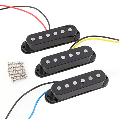 LYWS Set of 3PCS Alnico 5 Alnico V Single Coil Pickup SSS for ST Strat Style Guitar Black