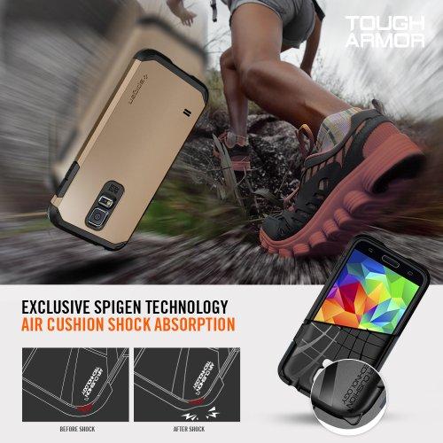 Spigen® [Heavy Duty] Samsung Galaxy S5 Case Protective [Armor] [Tough Armor Gunmetal] Dual Layer EXTREME Protection Cover Heavy Duty Case for Galaxy S5 / Galaxy SV / Galaxy S V (2014) - Gunmetal (SGP10762)