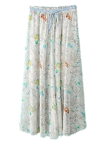 Haililais Femme Jupe Longue Floral Vintage Jupe De Plage Big Swing Jupe Mousseline BohMe Ample Femelle Skirt Lacets Grande Taille Jupe White1