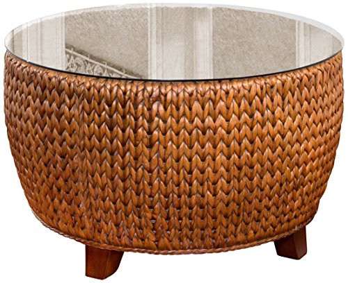 Brown Largo Furniture - Alexander & Sheridan KEY025-SI Key Largo Round Cocktail Table in Sienna Finish with Glass