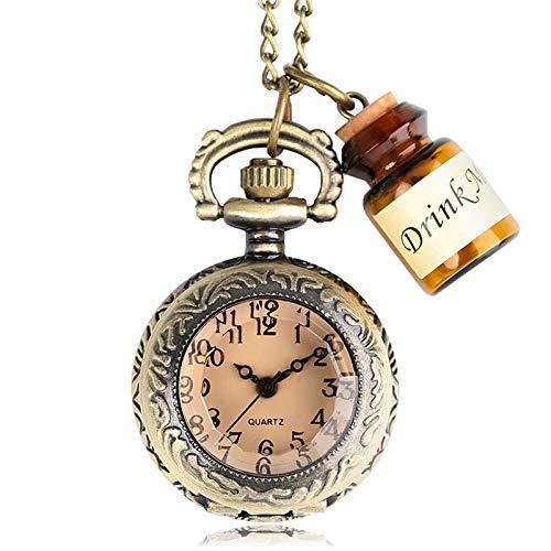 Vintage Glass Alice in Wonderland with Cute Drink Me Bottle Dark Brown Quartz Pocket Watch | with Necklace