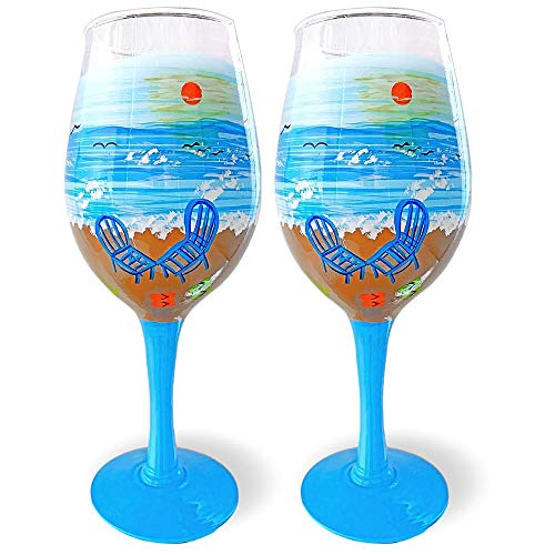 Beach Wine Glasses - Set of 2 Standard Wine Glasses - Hand-Painted Oceanside Nautical Design - Seaside - 14 oz