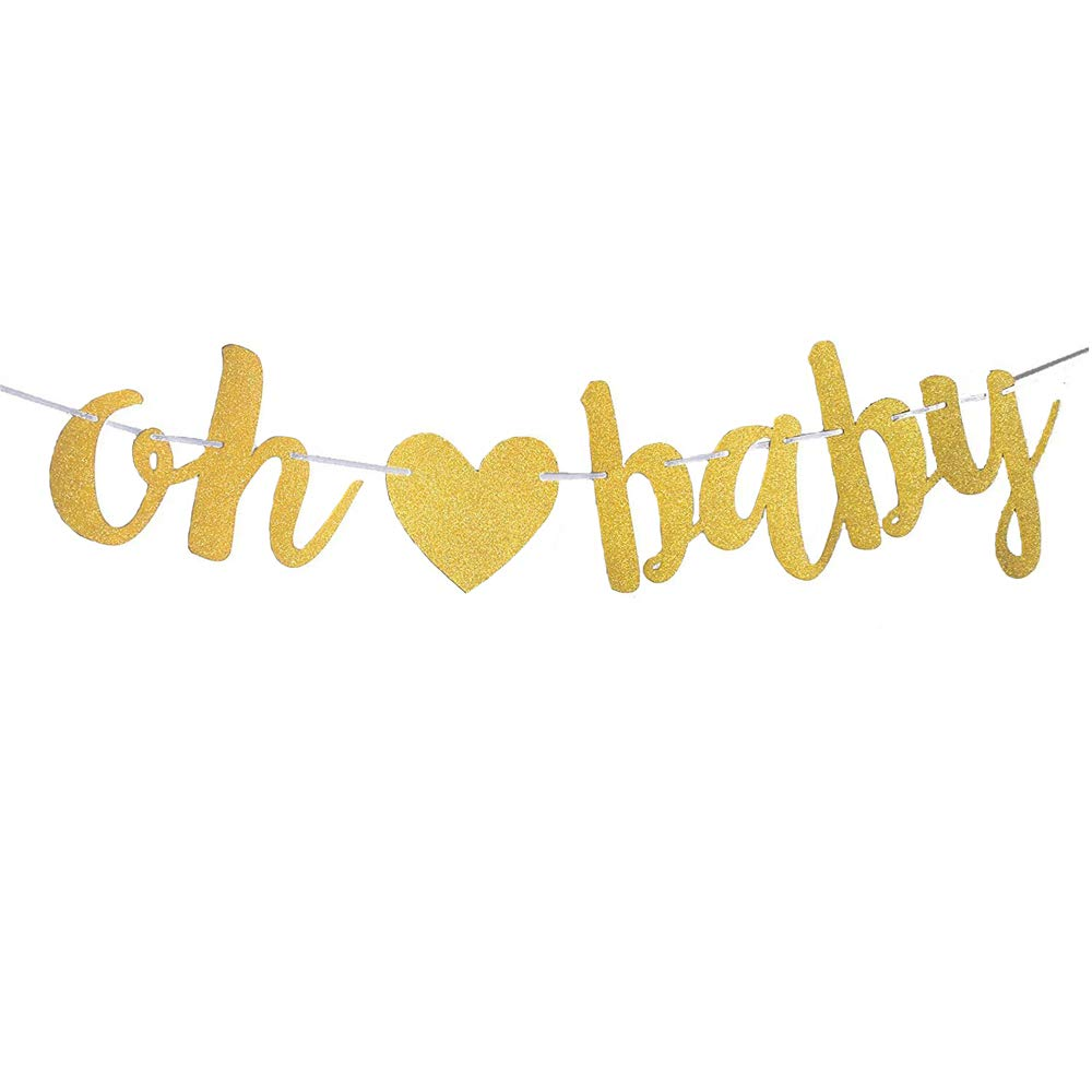 MAGQOO Gold Glitter Oh Baby Banner Bunting for Baby Shower Party Decorations