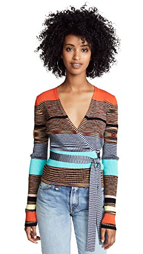 Diane von Furstenberg Women's Cropped Wrap Sweater, Cherry Multi, Medium -