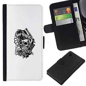 LECELL--Cuero de la tarjeta la carpeta del tirón Smartphone Slots Protección Holder For Sony Xperia Z1 L39 -- Engrasador Cráneo - Knuckles y tarjetas --