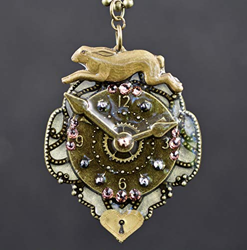 Leaping Brass Bunny Rabbit Filigree Clock Heart Lock Swarovski Crystal Pendant