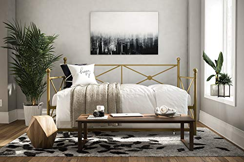 DHP Lina Full-Size Metal Daybed with Twin-Size Trundle, Gold