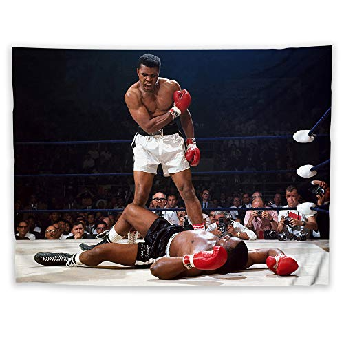 - JackGo7 Muhammad Ali Tapestry Art Wall Hanging Sofa Table Bed Cover Mural Beach Blanket Home Dorm Room Decor Gift (80X60inch/200x150cm)