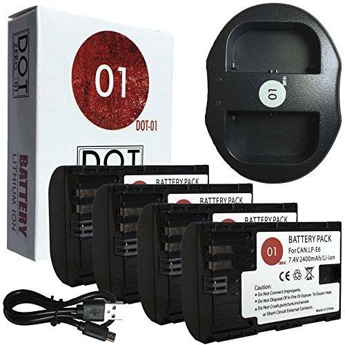 DOT-01 4X Brand 2400 mAh Replacement Canon LP-E6 Batteries and Dual Slot USB Charger for Canon EOS 6D Digital SLR Camera and Canon LPE6 by DOT-01