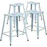 Flash Furniture High Metal Indoor-Outdoor Counter Height Stool (4 Pack), 24-Inch, Distressed Dream Blue
