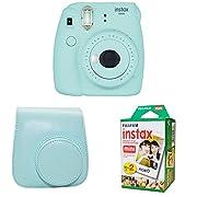 Fujifilm Instax Mini 9 Instant Camera with Instax Groovy Camera Case (Ice Blue) & Instax Mini Instant Film Twin Pack