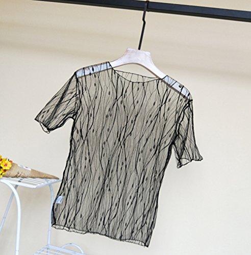 微生物シアー水分ALAIX レディース カジュアル セクシー 重ね着風 長袖 透け シースルー トップス レース 薄手 Tシャツ インナー ハイネック チュール