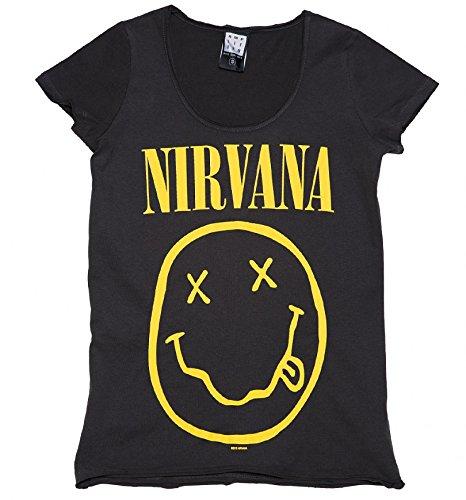 Amplified Frauen Holzkohle Nirvana Smiley T Shirt Aus verstrkt