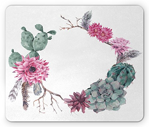 Lunarable Succulent Mouse Pad, Summer Vintage Floral Wreath Boho Chic Style Branches Feathers, Standard Size Rectangle Non-Slip Rubber Mousepad, Sage Green Light Pink Mauve by Lunarable