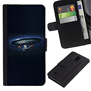 NEECELL GIFT forCITY // Billetera de cuero Caso Cubierta de protección Carcasa / Leather Wallet Case for Samsung Galaxy Note 4 IV // Empresa Nave Espacial