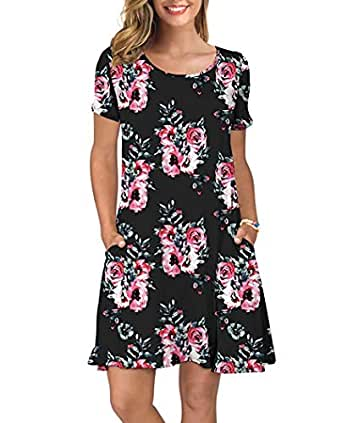 Yoonsoe Women's Summer Short Sleeve Dress Casual Floral Print Swing T Shirt Dress - Black - Small