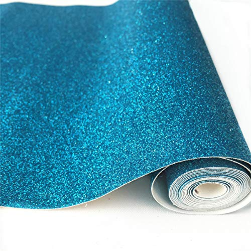 """ZAIONE 10"""" x 53"""" (25cm x 135cm) Roll Sparkly Superfine Glitter Vinyl Fabric Fine Glitter PU Leather Canvas Back Material for Shoes Bag Sewing Patchwork DIY Bow Craft Applique(Blue)"""