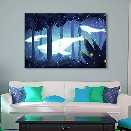 Hand Drawing Style Mystical Whale of Light Swimming in The Forest at Night