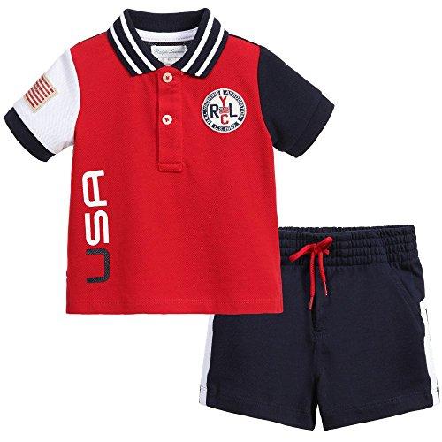 Ralph Lauren Boys Shorts (Ralph Lauren Baby Boys' 2-Piece USA Flag Polo Shirt & Shorts Set (6 Months))