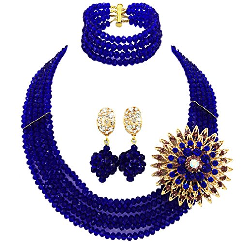 laanc Fashion Lady Jewellery 5 Rows Multicolor Crystal Nigerian Bridel Wedding African Bead Jewelry Sets (Royal Blue)