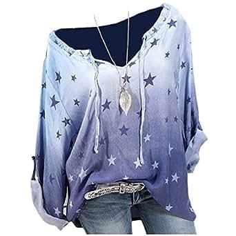 DressUWomen - Sudadera de Manga Larga con Estampado de Estrellas de la Suerte, Talla Grande, Azul, US XL=China 2XL