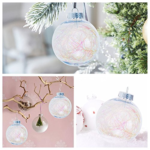 KI Store Clear Plastic Ornaments Fillable Christmas Balls with Twinkle Trim for Wedding Anniversary Decorations Set of 6(3.15