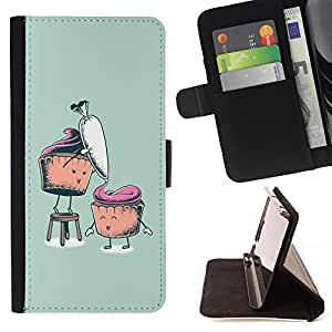 For Sony Xperia Z5 5.2 Inch Smartphone Funny Cupcakes Style PU Leather Case Wallet Flip Stand Flap Closure Cover