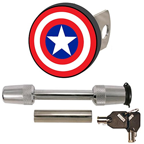 Captain America Color Shield Logo Avengers Marvel Comics Auto Car Truck SUV Vehicle Trailer Hitch Plug Receiver and Trimax Universal Lock Set (Captain America Hitch Cover compare prices)