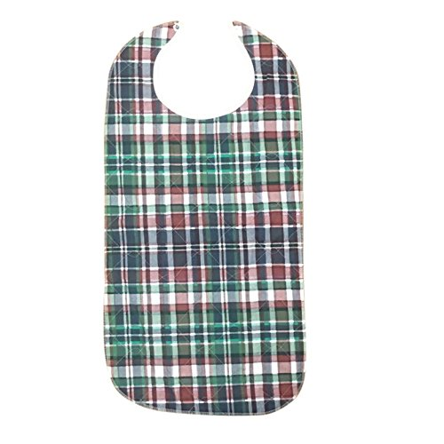 Adult Bib With Waterproof Vinyl Backing Washable 17x34 Green Plaid (Snap Closure) Made in USA … (12) by Personal Touch