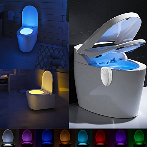 Maxzola Rechargeable Toilet Light with Waterproof Design by Toilet Night Light Motion Activated Toilet Seat Light 8 Colors Bowl Light (8 colors)