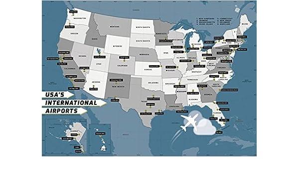Amazon.com : USA International Airport Map - Laminated (36 ...