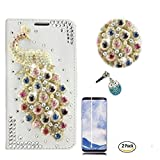 STENES Galaxy S9 Plus Case - 3D Handmade Peacock Wallet Card Slots Fold Leather Cover Case Blue Cute Night Owl Dust Plug,Screen Protector Samsung Galaxy S9 Plus - Multicolor