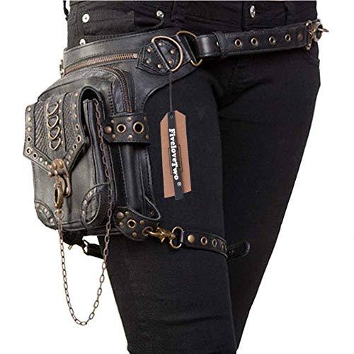 FiveloveTwo Men Women Fanny Packs Multi-Purpose Tactical Drop Leg Arm Bag Pack Hip Belt Waist Messenger Shoulder Steampunk Bag Wallet Purse Pouch Bag Black
