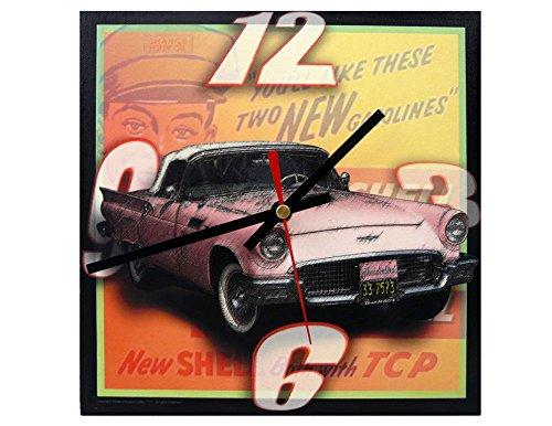 - Americana Classic Auto Series Wall Clock - '57 Pink Convertible, 9-inch