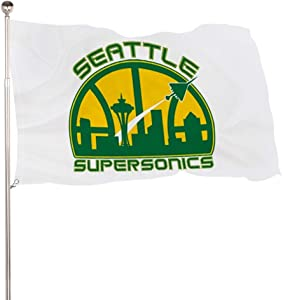 ZJLANS Sea-ttle Super-so-nics Flag Vivid Color and UV Fade Resistant with Brass Grommets 3x5 Flag