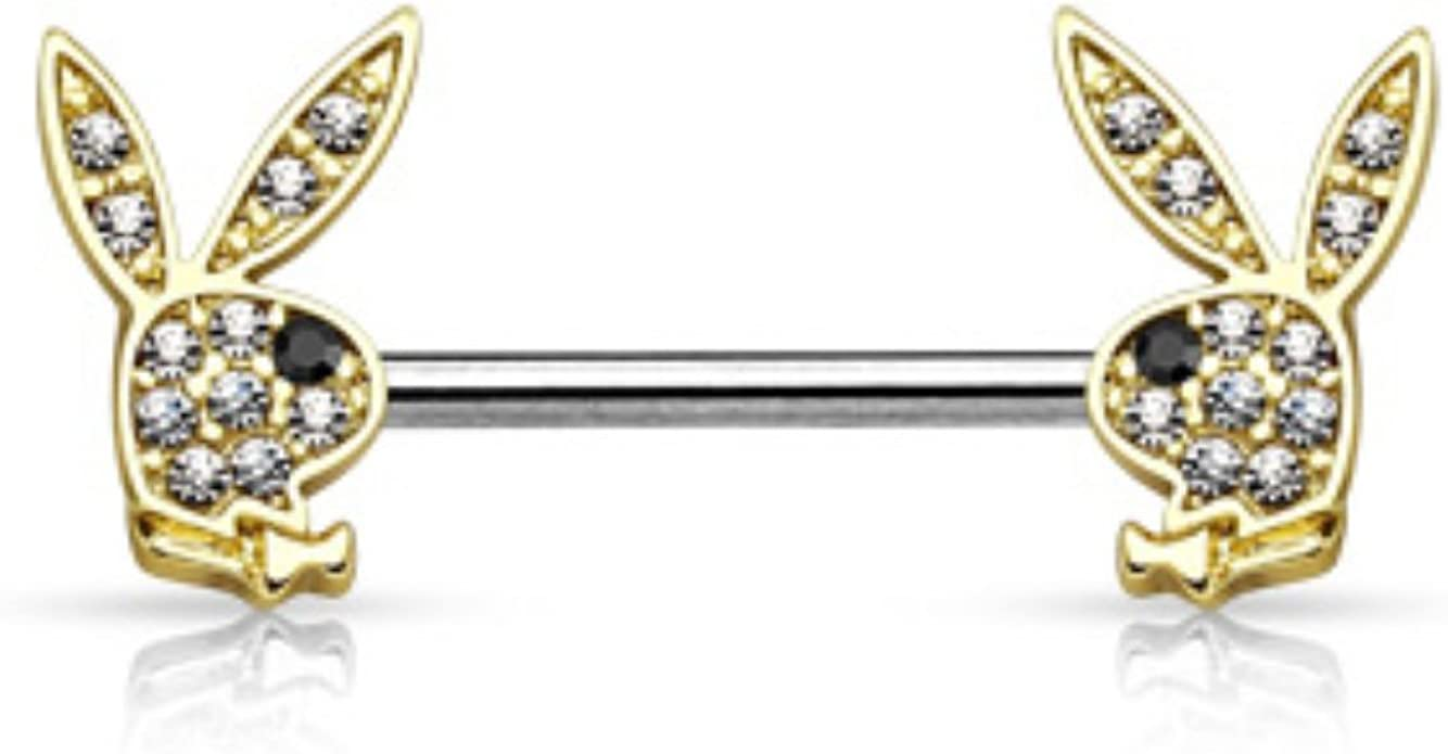 Playboy Rose//White Crystal Bunny Belly Ring