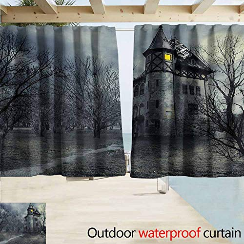 AndyTours Outdoor Patio Curtains,Halloween Halloween Design with Gothic Haunted House Dark Sky and Leafless Trees Spooky Theme,Rod Pocket Curtain Panels,W72x45L Inches,Teal]()