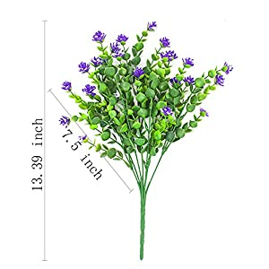 Artificial Flowers, Fake Outdoor UV Resistant Plants Faux Plastic Greenery Shrubs Indoor Outside Hanging Planter Home Kitchen Office Wedding Garden D¨¦cor 7