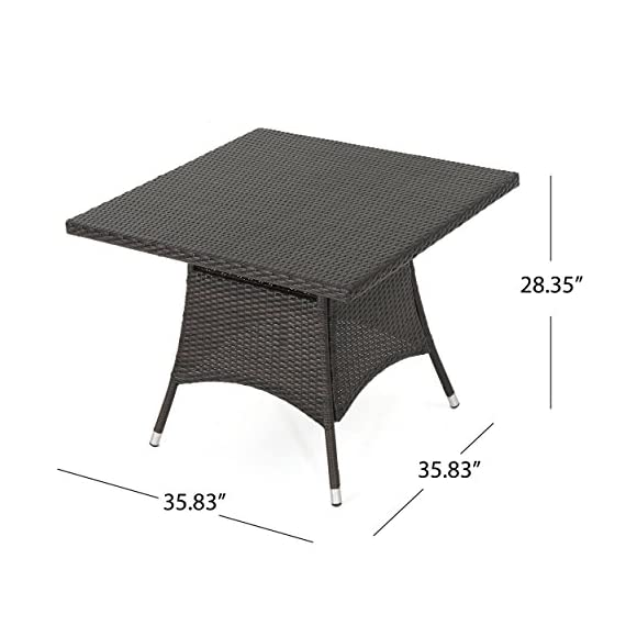 Christopher Knight Home Tybee Multi Brown PE Square Dining Table - For the perfect stylish outdoor Dining Table, look no further than the Christopher Knight Home corsica Dining Table Manufactured in China Assembly required but completely worth it - patio-tables, patio-furniture, patio - 51GF66ww09L. SS570  -