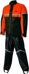 Nelson-Rigg unisex-adult SR-6000-ORG-03-LG Stormrider Motorcycle Rain Suit 2-Piece, LG (Black/Orange, Large)