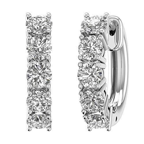 1 Carat (ctw) 14K White Gold Round White Diamond Ladies Huggies Hoop Earrings (I1-I2 Clarity)-IGI Cert