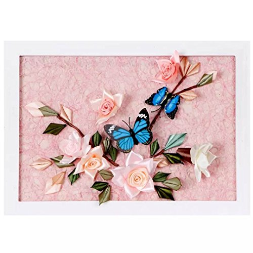 Ribbon Embroidery Kit For Beginner Flower Design DIY Home Wall Decor Flowers and Butterflies