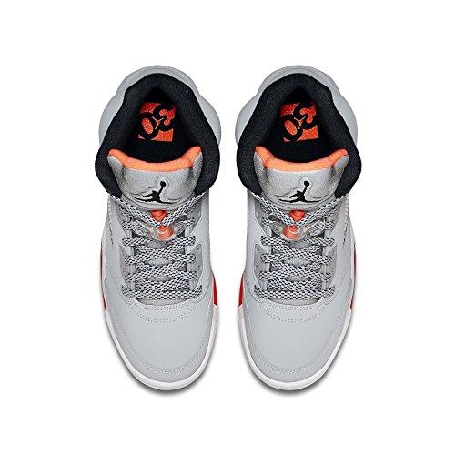 Nike Air Jordan 5 Retro Gg, Zapatillas de Running Para Mujer Gris / Negro / Rojo / Blanco (Wolf Grey / Black-Hot Lava-White)